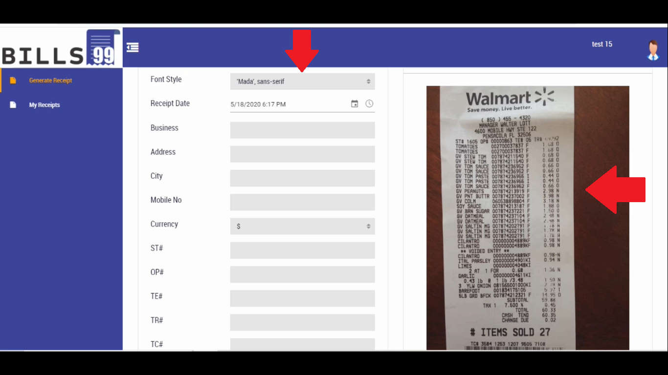 Step 3 Generate Walmart Style Receipt